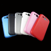 wholesale- Carbon Fiber microfiber skin back hard Case Cover  For Samsung Galaxy i9300, Free shipping 10pcs/lot
