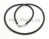 Free Shipping ! 10Strands/Lot  black color  braided style with 925 sterling silver clasp Leather Necklace Cord DIY Jewelry!
