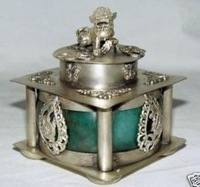 VINTAGE TIBET SILVER JADE KYLIN DRAGON INCENSE BURNER