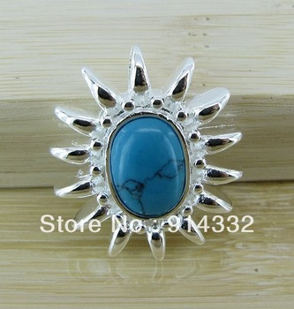 fashion 925 silver plated sunflower design 2.4 * 2.8 cm turquoise  pendants for necklace free shipping YN015