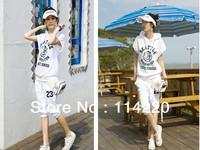 Hot Sale Plus size Summer Fashion Letter Printed Leisure Short Sleeve Hoodies+Pants Women's Sport Suit  2PCS Sport Clothing Sets