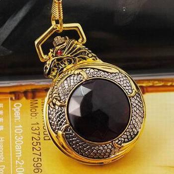 Free shipping Rare Golden Dragon Quartz  Pocket Watch