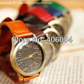 Replica nostalgic large dial unisex designer watches genuine leather lady fashion band watch cowhide vintage wristwatches