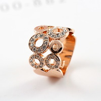min order is $15 (mix order) free shipping  alloy 18k rose gold finger ring austria crystal index finger ring