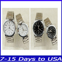 F04193 Fashion classic Quartz Couple Steel Wrist Watch for  Lover Men Women+ US free shipping