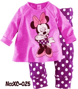 6 Sets/Lot Baby Kids Pajamas Gilrs Clothes Set Children Sleepwear 2-7 years baby set  Minnie homewear cotton sleepwear nightwear