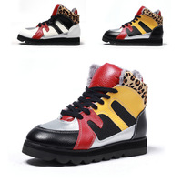 """cady-s"" 2012 winter plush leather leopard womens boots low heel lace up size 35-39 (Black Yellow, White Black) free shipping"