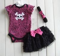 Baby 3pcs  outfits & set Girls skull short sleeve rompers + tutu skirts + headwear 3pcs set  size 3M,6M 9M,12M,18M,24M