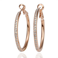 18k gold plated hoop earrings for women 2013 health care fashion jewelry with rhinestone E085