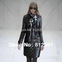 HK Free Shipping Fashion PU Leather Black Down Coat Women Winter Coat with Shawl S M L XL