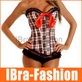 Sexy Womens clothing lattice printed CORSETS strapless lace up overbust lace trim up bustier top corset sexy lingerie Freeship