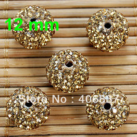 Free Shipping! 20pcs/Lot, Good Quality 12mm Lt. Col. Topaz Clay Shamballa Beads
