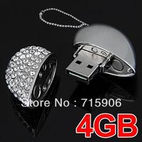 Free shipping Diamante Heart Pendant Chain USB 2.0 4GB 4G Flash Memory Stick Pen Drive