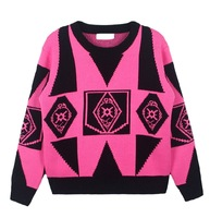 Free shipping  Fashion geometry sweater fabric long-sleeved T-shirt TB 2529