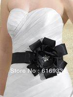 Wedding dress sash handmade floral black sash wedding dress waistband floral belt  WA-030