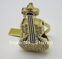 Jewelry Crystal Metal Violin USB Flash Drive 2.0 with Genuine Capacity of 8GB