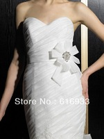 Wedding dress sash cleaer crystal beaded wedding dress waistband organza clear floral sash wedding dress belt WA-027