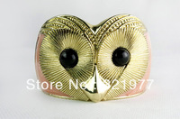 Europe and the United States exaggerated Metal Fashion owl opening super wide gold bracelet