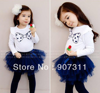 free shipping 5pcs/lot size 90-130 Girls Bow T Shirt + Tutu skirt Leggings Girls dress Suit girls summer dress set