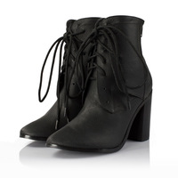 brand new women pointed toe genuine leather high heel boots,black,size34-42,British style ladies winter shoes,