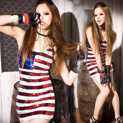 Free Shipping Promotion! wholesale us flag dress, cheap sexy club dresses for Women, american flag dress LM8691LS(China (Mainland))