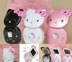 Black QWERTY Keyboard Hello kitty Flip Mobile Phone Unlocked Quad-band Dual sim card Camera , mp4(China (Mainland))