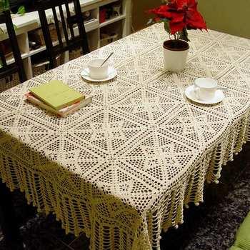Tassel crochet  table cloth/beige  tablecloth/handmade crocheted  fabric doilies/square  doily