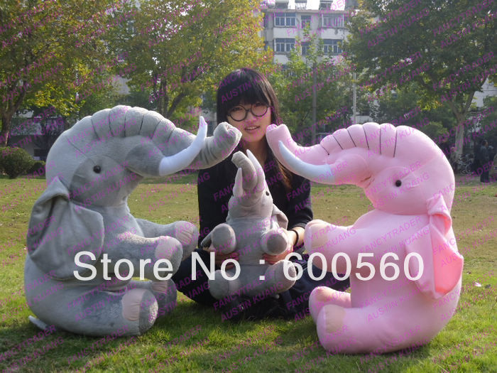 39'' / 100 cm New Arrival Emulational Giant Plush Stuffed Elephant, 2 Colors (Pink or Grey) Free Shipping, FT90091(China (Mainland))