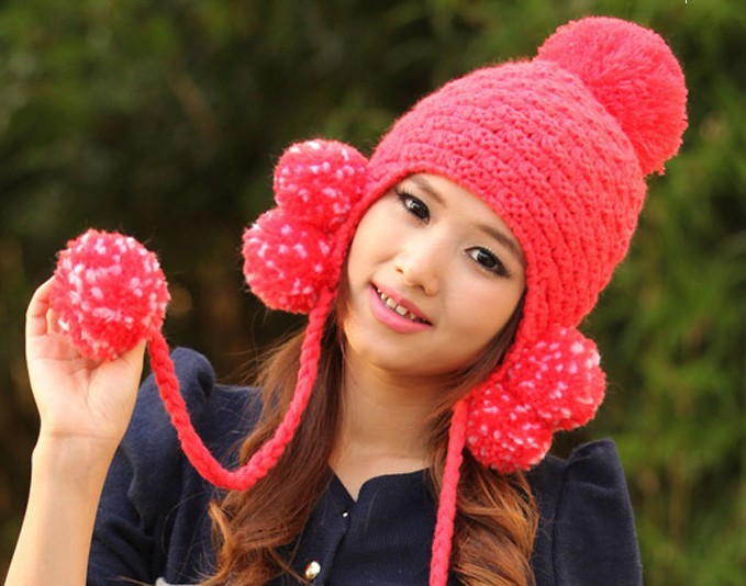 Han qiu dong the day more than cute ball ball earmuffs wool hat(China (Mainland))