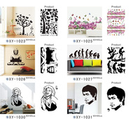 5pcs/lot 60*90cm Freeshipping XY series large wall decals Bruce Lee wall sticker Paper Crafts cartoon monkey wallpaper for walls