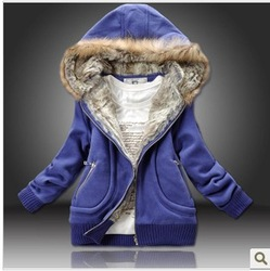 2013 Three Color freeshipping manufacturers supply women Fur Collar hooded sweater women clothing M-XXL(China (Mainland))
