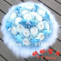 Free shipping 9 Dolphins 16 gold dust rose cartoon bouquet dried flowers natural crafts Christmas gifts  fake bouquet ZA933