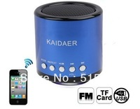 Free shipping 10pcs KAIDAER MN02BT Bluetooth Speaker Support TF Card /U Disk / FM Function for MP3 cell phone iPad iPhone 4 4S