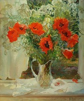 Free shipping Russia's  style hand-painted artwork The flowers Still life oil-paintings on canvas JW-014