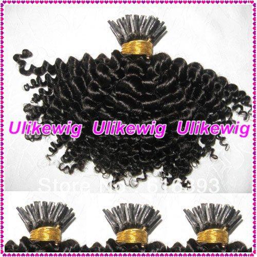 "Brazilian Queen Hair Products 10"" #1 Afro Curl I Stick Tip Brazilian Virgin Human Hair Extension (1g/strand x 100)(China (Mainland))"