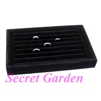 Wholesale High Quality Black Velvet Ring Jewelry Display Tray Stand Holder 7 Rows