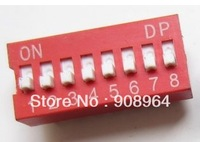 100pcs 8P 8 Position DIP Switch 2.54mm Pitch 2 Row 16 Pin DIP Switch red