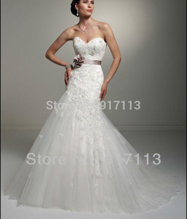 Vestido De Noiva 2015 New White Ivory Mermaid Dress Wedding Dress Tulle Applique Bridal Gown