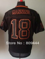 Free Shipping,#18 Peyton Manning 2012 Men's Lights Out Black Elite Football Jersey,Sports jerseys,Embroidery logo,size M-3XL