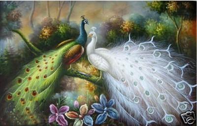 pintura a óleo de Repro da arte dos artesanatos: Bonito do pavão