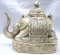 Collectibles Cultures predominant Tibet silver elephant figure teapot