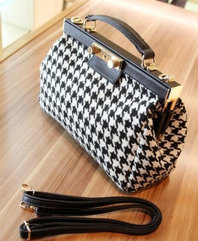 Free shipping Wholesale retail drop shipping Worsted Houndstooth PU Vintage handbag Tote metal frame shoulder bag for women