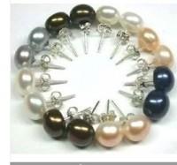 8Set Akoya Cultured pearl Earring Silver Stud AAA Grade