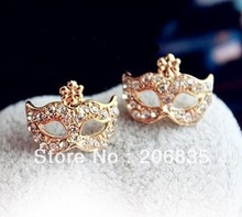 Full Rhinestones Magic Mask Stud Earrings Stylish Earrings(China (Mainland))