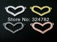 Wholesale 40PCS mixed Plated White Crystal Disco Ball Rhinestones Heart Shape Bracelet Connector Beads jewelry findings