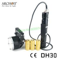 Archon DH30 3-Modes CREE XM-L U2 3pcs LED 3000 Lumens Canister Diving Flashlight+(3 Pcs charging 26650 battery,3 Pcs Charger)Kit