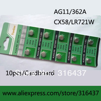 1000pcs/lot (100cards) 1.55v AG11/362A/CX58/LR721W button cell battery / 10pcs/card  alkaline button battery in retail pack