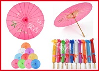 Free shipping 100pcs/lot assorted colors with hand-painted flower designs wedding bride umbrella silk parasol