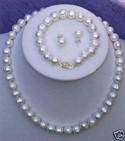 8-9MM Real Cultured Pearl Necklace Bracelet Earring Set