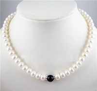 8-9mm White Freshwater Pearl&black jade bead Necklace 18inch